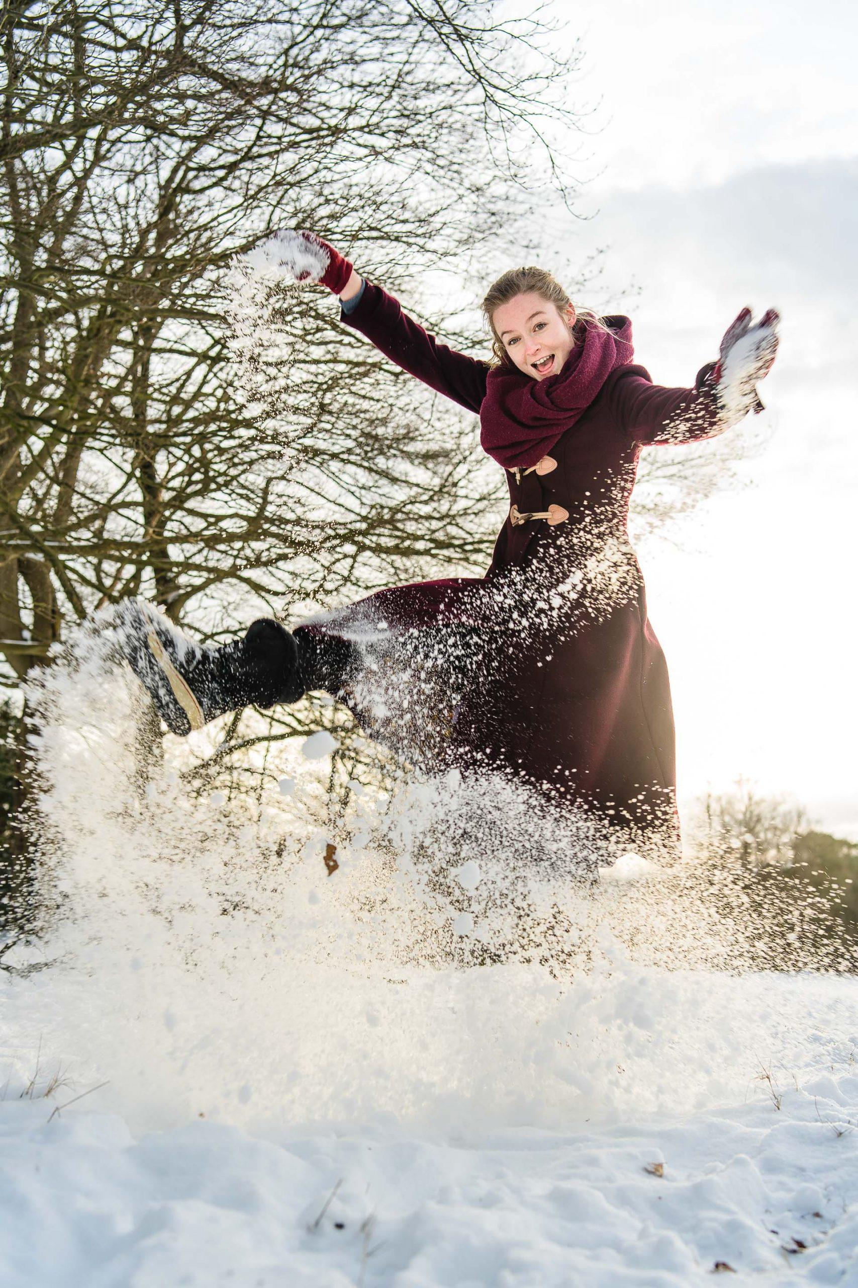 Fotoshoot sneeuw heide Hilversum